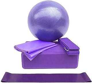 Ruiqas 5pcs Yoga Equipment Set,Includes Exercise Ball,Yoga Block,Resistance Loop.Stretching Band Strap,Woven Belt Pilates ...