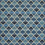 Unique Loom Outdoor Trellis Collection Moroccan Lattice Transitional Indoor and Outdoor Flatweave Blue/Beige Square Rug (6' 0 x 6' 0)