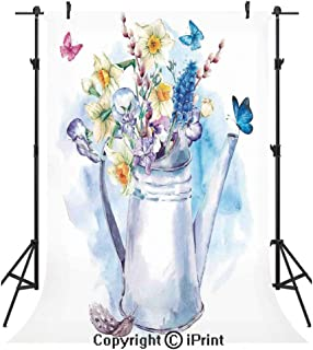 Daffodil Photography Backdrops,Summer Bouquet with Violets Puss Willows and Butterflies in Old Fashion Watering Can,Birthday Party Seamless Photo Studio Booth Background Banner 5x7ft,Multi