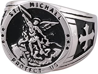 St Michael The Archangel Catholic Medal Stainless Steel Amulet Ring