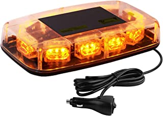 YITAMOTOR Upgrade Amber Strobe Lights - High Intensity Law Enforcement Emergency Hazard Warning LED Mini Bar Strobe Light with Magnetic Base for 12V-24V Snow Plow, Trucks, Construction Vehicles