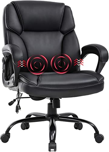 new arrival Big and Tall Office Chair 400lbs Wide Seat Ergonomic Desk Chair Massage Computer Chair with Lumbar Support Armrest Swivel Rolling Executive PU Leather Adjustable Task online sale Chair online for Adults Women(Black) sale
