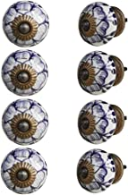 Indian-Shelf Handmade Ceramic Buttercup Cupboard Knobs Wardrobe Pulls Drawer Handles(Purple, 1.50 Inches)-Pack of 8