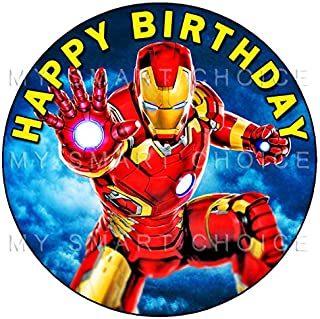 7.5 Inch Edible Cake Toppers – Avengers: Iron Man Themed Birthday Party Collection of Edible Cake Decorations