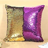 Axgo Reversible Sequin Pillow Case Decorative Color Changing Cushion Throw Pillowcase 16 x 16 Inch, Gold+Purple
