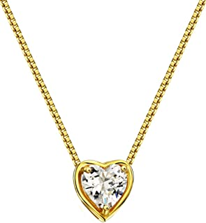 """Mints 18K Gold Plated Silver Birthstone Necklace Solitaire Heart Shaped Pendant Gemstone Fine Jewelry for Women 16""""-18"""""""