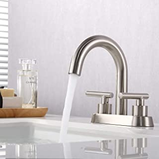 KES 4 Inches Centerset Bathroom Sink Faucet Brushed Nickel Morden Vanity Faucet Brass Construction, L4117LF-BN