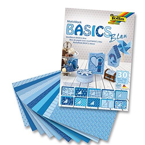 CREATIV DISCOUNT NEU Motivblock Basics Blau, 24x34 cm, 30 Bogen