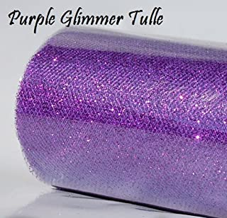 1 X Wedding GLITTER Tulle Roll 6in x 30ft PURPLE Sparkling Tulle (10 yards)