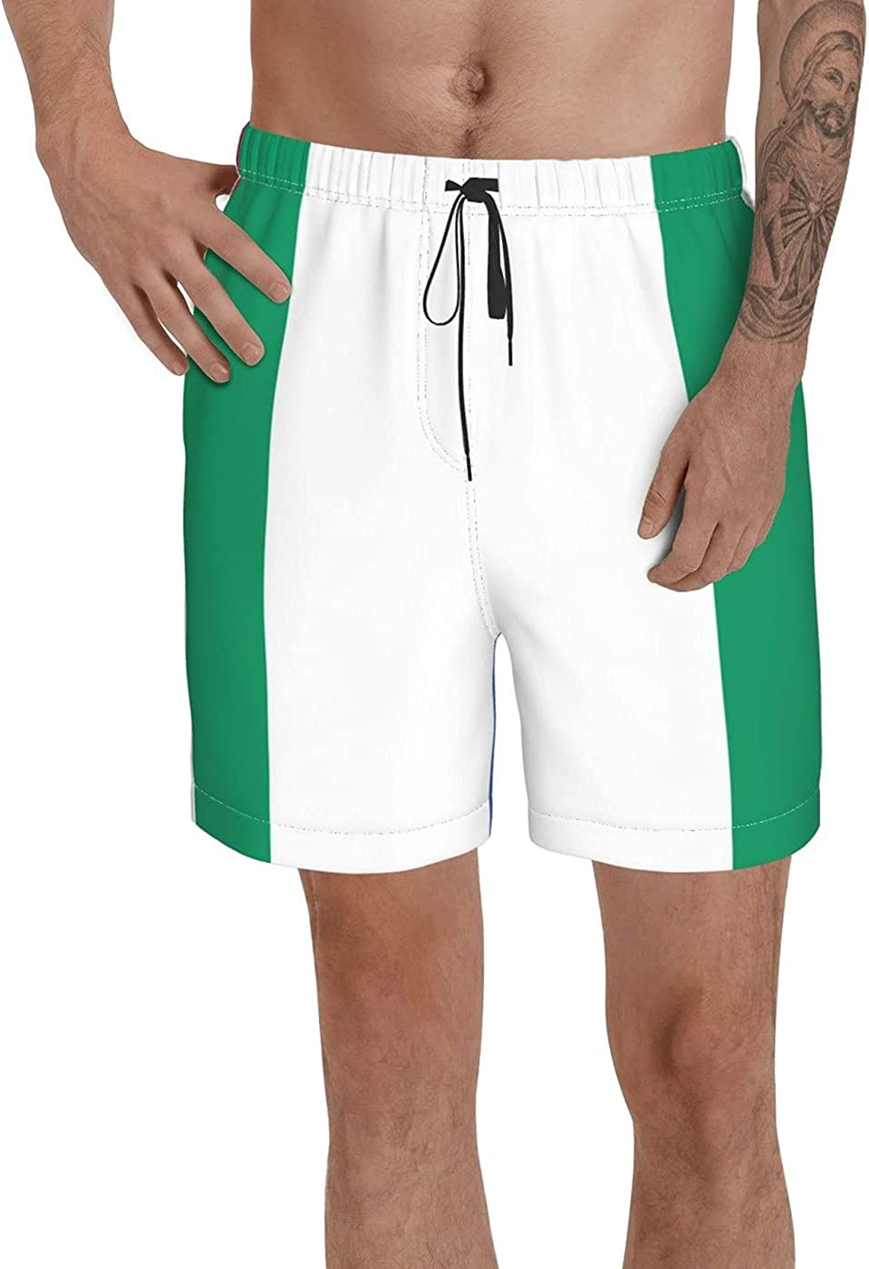 Count Nigeria Flag Men's 3D Printed Funny Summer Quick Dry Swim Short Board Shorts with