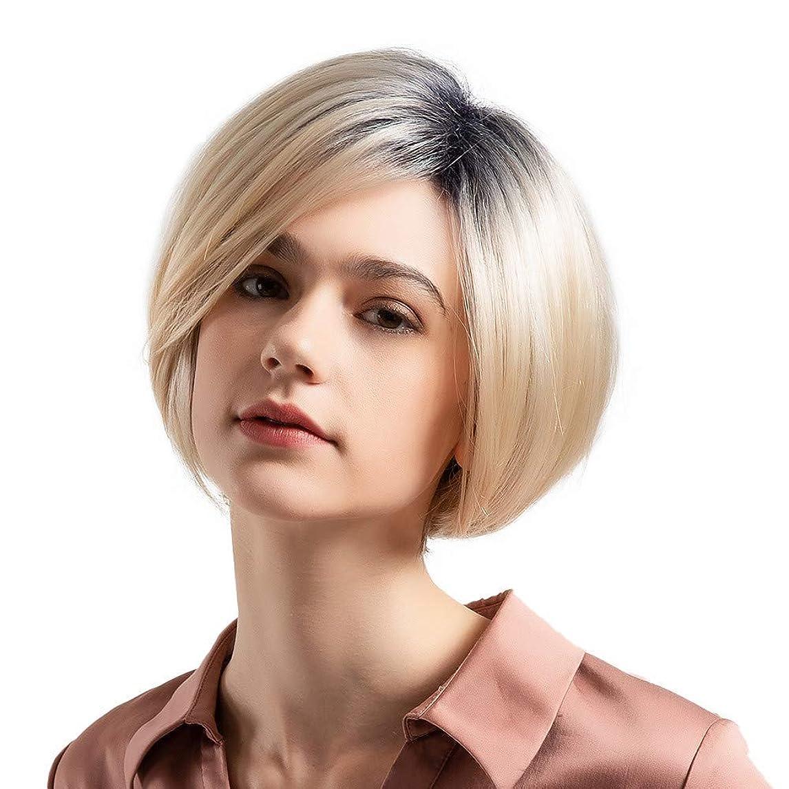居住者ブル努力ウィッグショートボブストレートヘア50%リアルヘアウィッグ女性のファッショングラデーションウィッグ