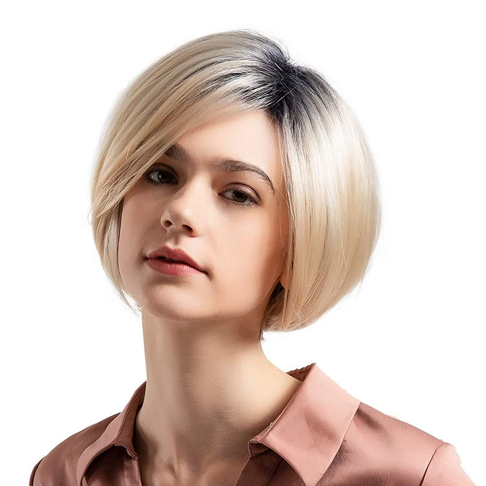 おもてなし正確なランダムウィッグショートボブストレートヘア50%リアルヘアウィッグ女性のファッショングラデーションウィッグ