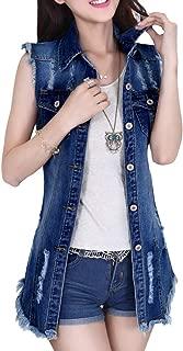 Women's Distressed Sleeveless Long Denim Cardigan Vest Jean Jacket Plus Size