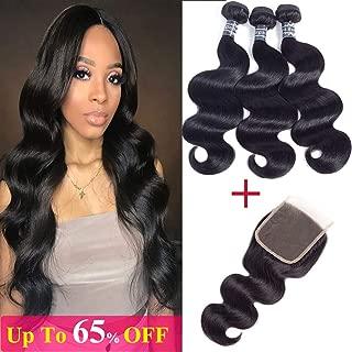 Amella Hair Brazilian Virgin Body Wave 3 Bundles with Free Part Closure (14 16 18 +14Closure)10A Grade 100% Unprocessed Brazilian Hair Weft With 4x4 Lace Closure
