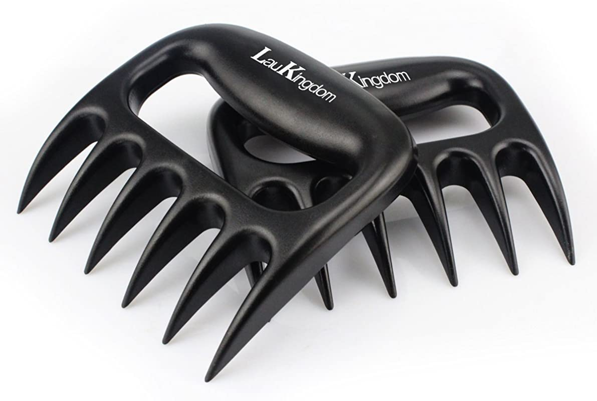 LauKingdom BBQ Meat Claws Barbecue Meat Handling Shredder Claws Set Of 2 BPA Free Heat Resistant Up To 475 F Pulled Pork Shredder Claws Grilling Accessories Gift Black