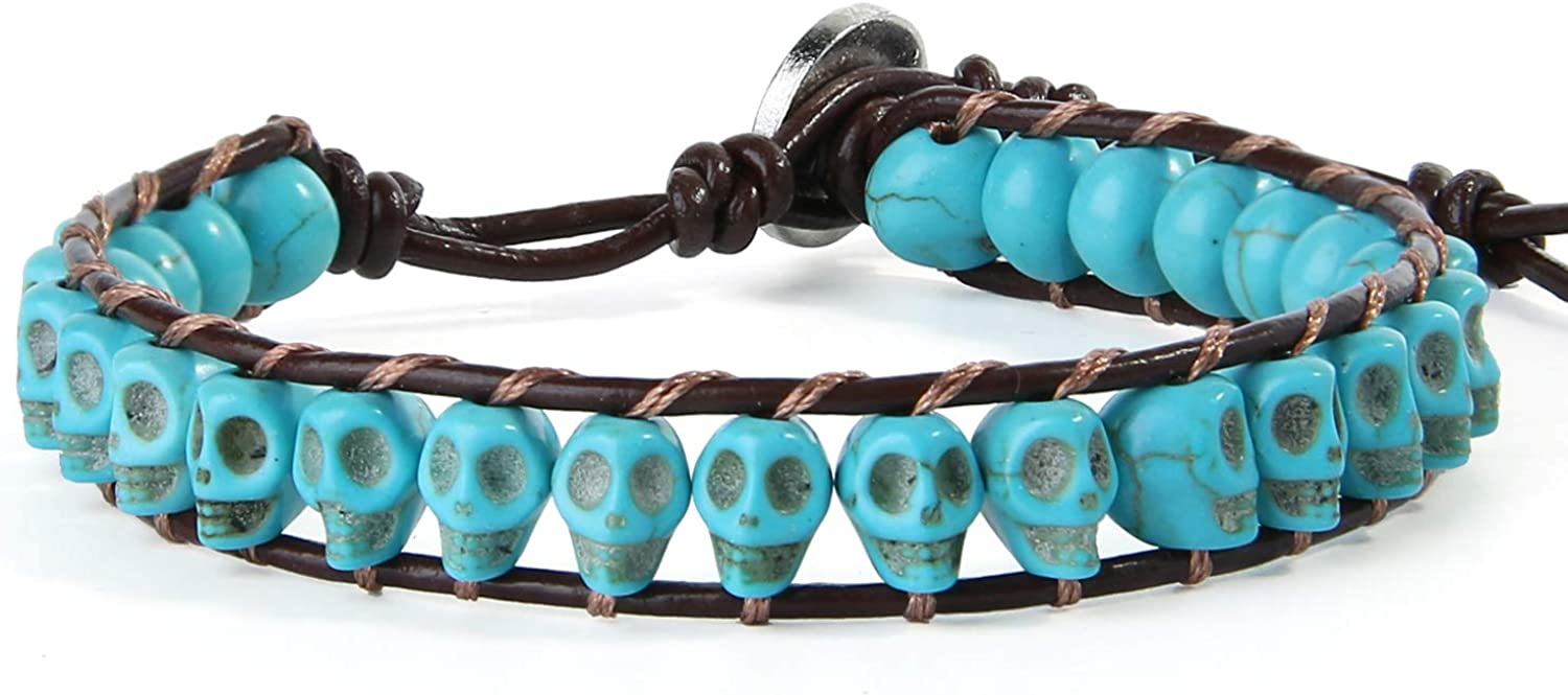 KELITCH Turquoise Crystal Mix Beaded Single Wrap Bracelet on Brown Leather Handwoven New Jewelry