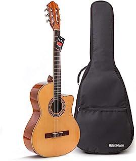 Cutaway Classical Guitar with Savarez Nylon Strings by Hola! موسیقی ، اندازه کامل 39 اینچ مدل HG-39C ، پایان طبیعی براق - شامل کیسه گیگ خالی رایگان