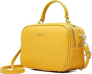 Pierre LOUES Damen Handtasche Umhängetasche Henkeltasche Modischer Urban Chic Style PU Kunstleder für Frauen (Gelb)