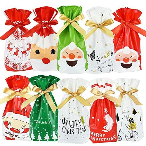 IGRMVIN 50 Stücke Weihnachten Geschenkbeutel mit Kordelzug Weihnachtstüten süßigkeiten Weihnachtsgeschenkbeutel Geschenktüten Weihnachten Säckchen Geschenktaschen für Frohe Weihnachten Süßigkeiten