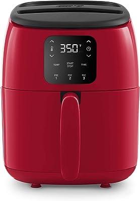 Dash Tasti-Crisp™ Freidora de aire digital con tecnología AirCrisp®, ajustes preestablecidos personalizados, control de temperatura y función de apagado automático, 2.6 cuartos de galón, color rojo