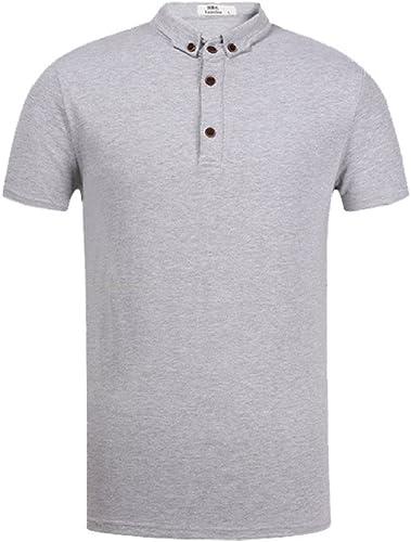SOOCO Polo T-Shirts pour Hommes Slim Décontracté Manches Courtes à Manches Longues pour Hommes Affaires Gentlehomme Chemisier Polo Classique gris