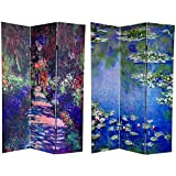 Oriental Furniture 6 ft. Tall Double Sided Works of Monet Canvas Room Divider - Lilies/Garden at Giverny