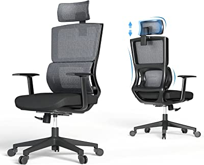 Ergonomic Mesh Office Chair, High Back Desk Chair with Adjustable Headrest, Lumbar Support, Tilt Function, Height Adjustment and PU Wheels, Rolling Swivel Computer Gaming Chair for Home, Black Grey
