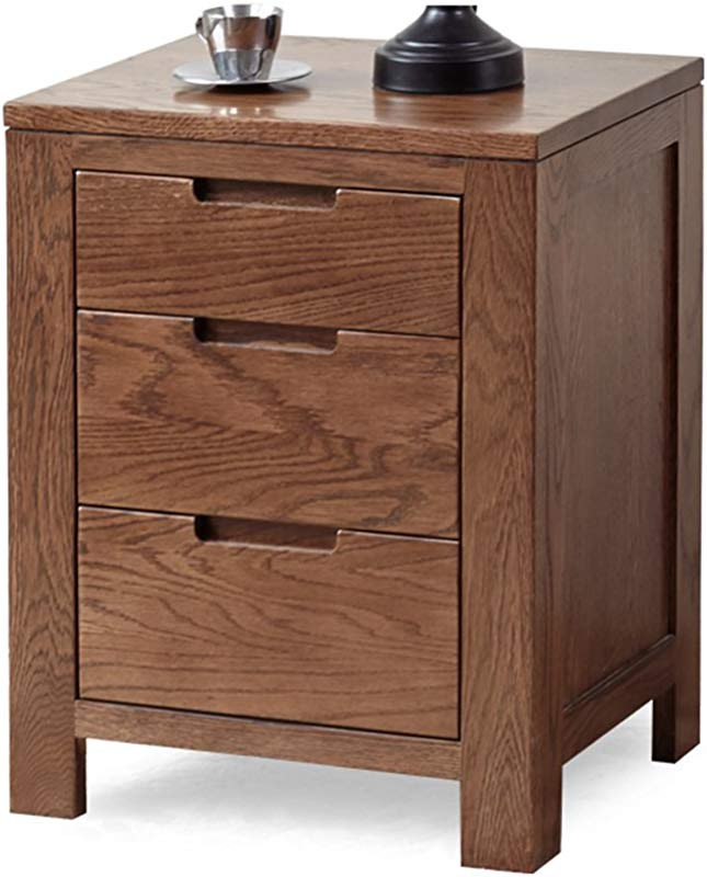 DDSS Solid Wood Furniture Bedside Tables European Style Bedroom Storage Cabinet Lockers Multi Purpose Brown