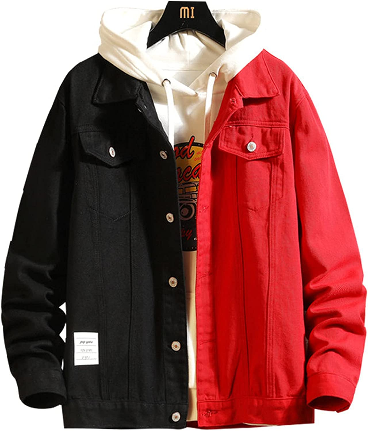 Men's El Paso Mall Denim Jacket Year-end annual account with Button Outwear Motorcycle Party Clubwear