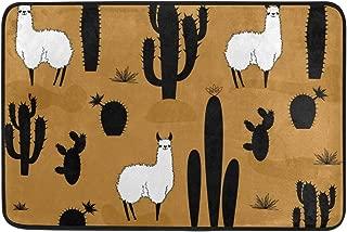 WIHVE Area Rugs White Llama Alpaca and Black Cactus Doormat Entrance Floor Mat Non-Slip Soft Absorbent Bathroom Kitchen Dining Room Carpet 2' x 1.5'