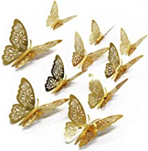 FOMTOR 3D Butterfly Wall Stickers Butterfly Wall Decals for Home Decor DIY Butterflies Fridge Sticker Room Decoration Party Wedding Decor (48 Pcs, Gold)