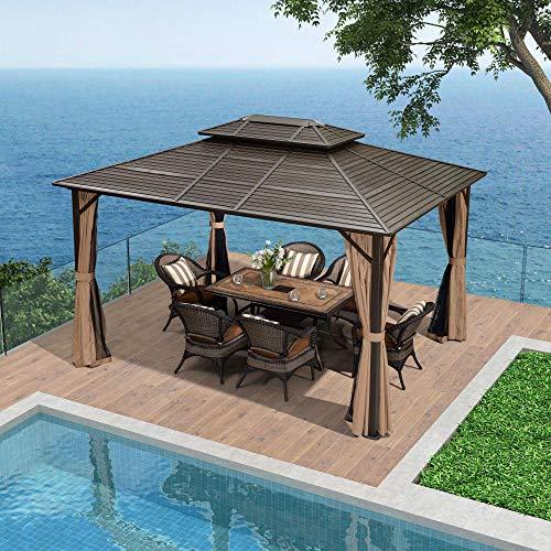 PURPLE LEAF 10' X 12' Outdoor Hardtop Permanent Double Roof Gazebo...