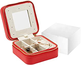 XX_C Jewellery Boxes & Organisers Jewelry Box, Women's Faux Leather Cosmetic Case Portable Travel Case, Ring, Bracelet, Earrings, Necklace Birthday Party Gift (Color : Red)