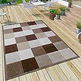 VIMODA Robuster Flachgewebe Teppich In- und Outdoor Tauglich 100% Polypropylen, Farbe:Braun,...