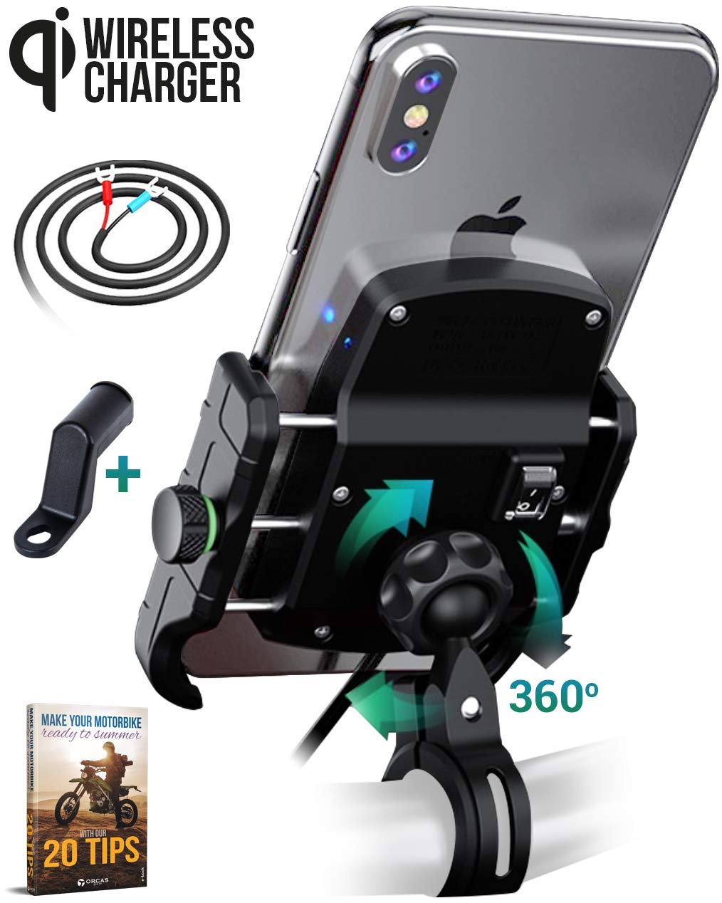 Orcas Motorbike Phone Holder Wireless Charger Motorcycle Mount Cradle Clamp for Handlebar or Mirror, Bicycle, ebike, Scooter Bike, Compatible Huawei