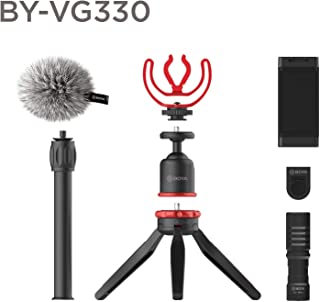 Boya Advanced Vlogging Kit - Video Microphone, High Powered LED Video Light, Mini Tripod with Extension Handle, Cold Shoe ...