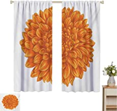Mozenou Dahlia Flower, Window Curtain Fabric, Funk Art Old Vintage Floral Leaf Love Valentines Day Special Celebration Theme, Drapes for Living Room Orange