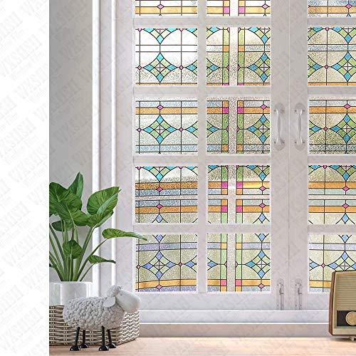 LMKJ Película de Ventana Etiqueta de Vidrio de Color Etiqueta de Ventana extraíble Ventana Solar Película de Vidrio estática para el hogar A42 60x100cm