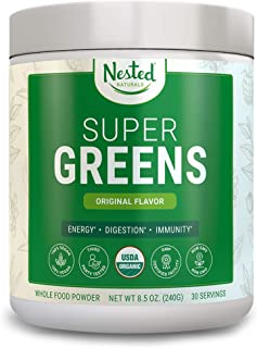 SUPER GREENS | #1 Green Veggie Superfood Powder | 100% USDA Organic Non-GMO Vegan Supplement | 30 Servings | 20+ Whole Foods (Wheat Grass, Spirulina, Chlorella), Probiotics, Fiber & Enzymes (Original)