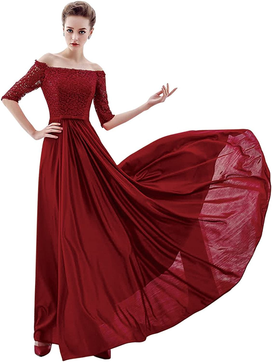 BessWedding Women's 2016 Red Lace Off The Shoulder Long Prom Dress Wedding Gowns