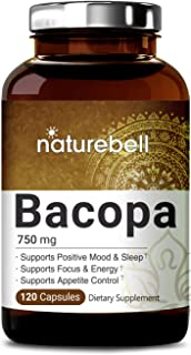 NatureBell Bacopa Capsules 750mg, 120 Counts, Nootropics for Brain Booster for Enhanced Mental Focus and Memory, Non-GMO and Made in USA