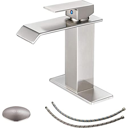 bwe waterfall bathroom faucet brushed nickel with pop up drain stopper overflow assembly and supply hose single handle for sink 1 hole bathroom sink