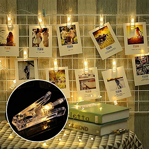 Decdeal Photo Clip String Light 40 LED Photo Hanging Clips String Lamp Battery Powered 5M/16.4FT Fairy Lights with Clips for Pictures Christmas Tree Bedroom Wedding Party