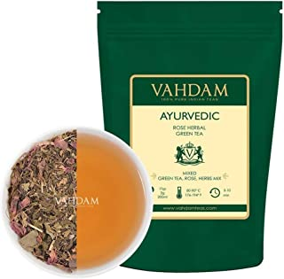 VAHDAM, Ayurvedic Herbal Tea (50 Cups), 21 HERBS, 100% Natural Tea, Organic Green Tea Leaves blended with 21 Medicinal Herbs from India, Serve Hot or Iced, 3.53oz