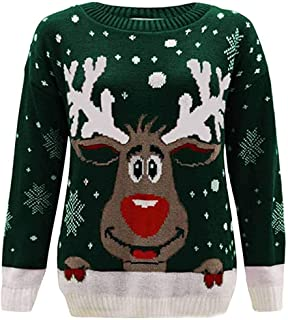 Christmas Sweaters for Womens,2019 Autumn Winter Ladies O-Neck Snowflake Elk Printed Comfort Merry Xmas Pullover