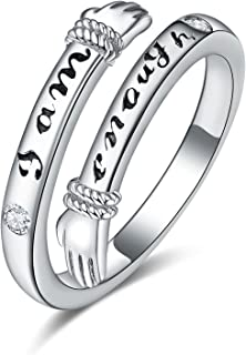 """Sponsored Ad - Palpitate Inspirational Open Rings for Women """"I am enough"""" Adjustable Opening Vintage Silver Rings Gifts fo..."""