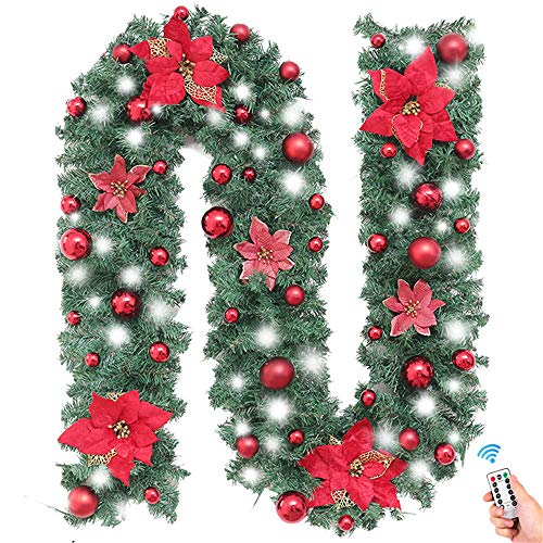 Surwin Xmas Wreath with LED Lights, 2.7m Decoration Illuminated Light Garland for Fireplaces Stairs Hanger Door Wall Windows Home Flower Ball Christmas Tree Festive Decor (red,white)