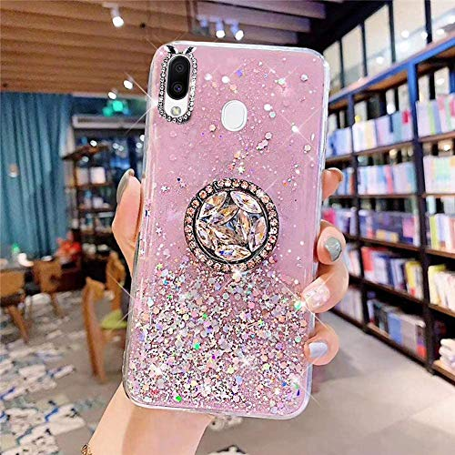 Glitter Case Compatible with Galaxy M20, Bling Diamond Transparent Soft Silicone TPU Gel Rubber Phone Case with Ring Stand Holder Crystal Clear Bumper Protective Cover for Galaxy M20,Pink