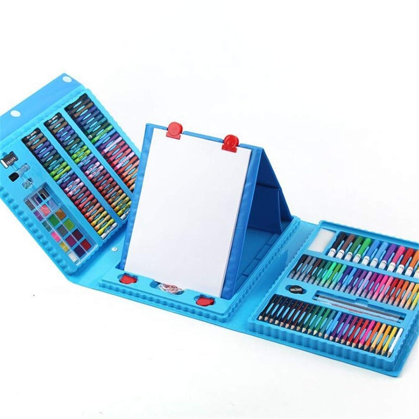 脚十代自分こども大人プロの水彩画の鉛筆セット アートセット208個デラックスアートセット絵画マルチ描画セットカラーペンマーカークレヨン 水彩画 (色 : 青)