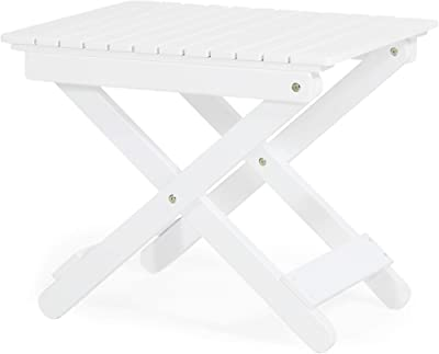 Christopher Knight Home 312841 Deborah Outdoor Folding Side Table, White
